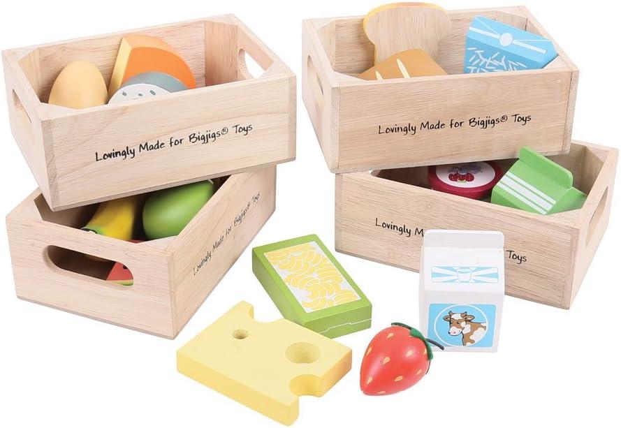 Bigjigs Toys Lebensmittel Kisten - Kinder Marktstand