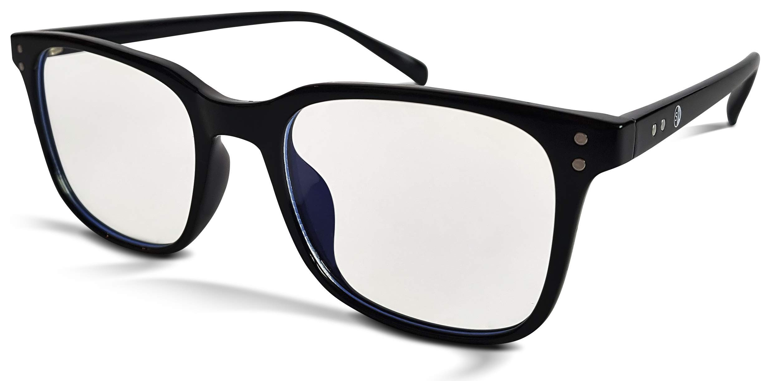 Sun Nowa Blue Light Blocking Glasses for Men & Women - Minimizes Eye Strain, Provides Eye Protection, and Filters UV Light - Perfect for Computer, Gaming, Daily Use (Black, 0)
