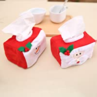 DishyKooker 1PC/2PCS Christmas Tissue Box Elegant Exquisite Napkin Holder Paper Towel Box Party Festival Decoration Comfort