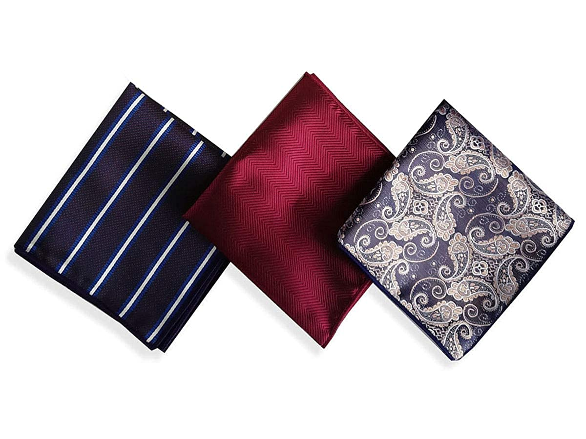 GERINLY 3 PCS Set Valentines Gift For Men Vintage Pocket Squares Handkerchief for Mens Gift Suit Accessory For Wedding