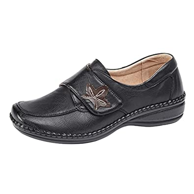 a375927db39 Womens Ladies Extra Wide EEE Fit Touch Fastening Leather Casual Shoes Size  3 - 8 BLACK  Amazon.co.uk  Shoes   Bags