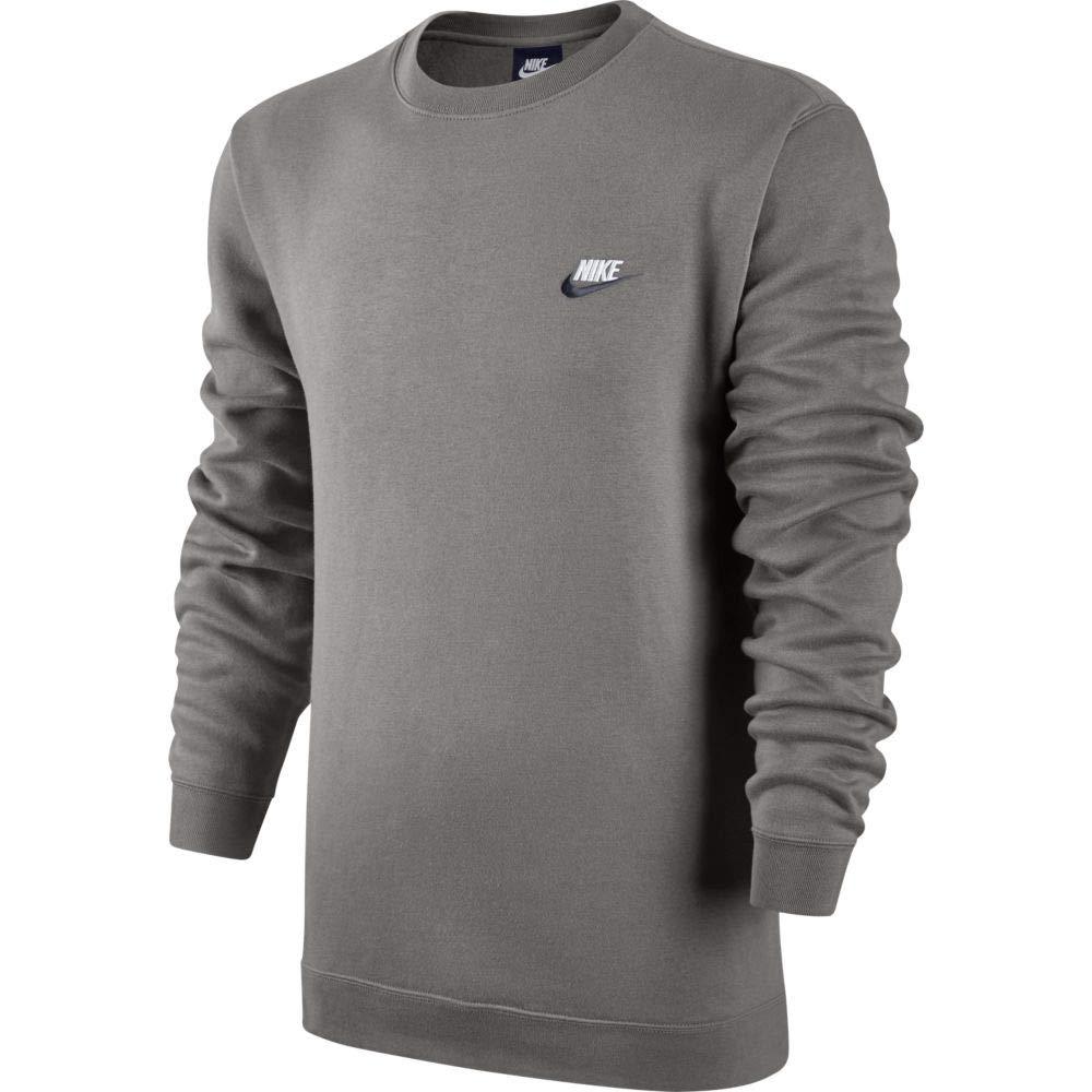 Nike Mens Sportswer Crew Fleece Club Sweatshirt Grey Heather/Dark Obsidian/White 804340-067 Size Small