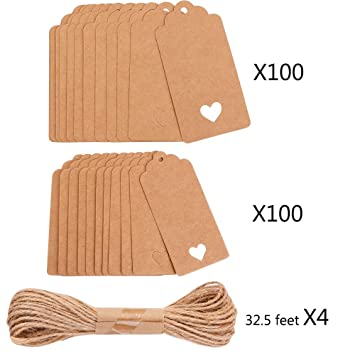 12d8194ae647 200 Pcs Gift Tags Kraft Paper Marking Tags Hang Tag Labels Hollow Heart  Tags for Wedding Party with 130...