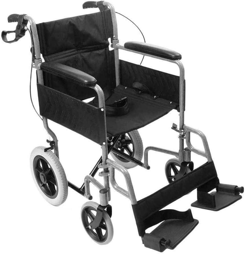 Silla de ruedas de tránsito, de la marca NRS, modelo N29210, ligera, plegable, controlada por auxiliar de vuelo