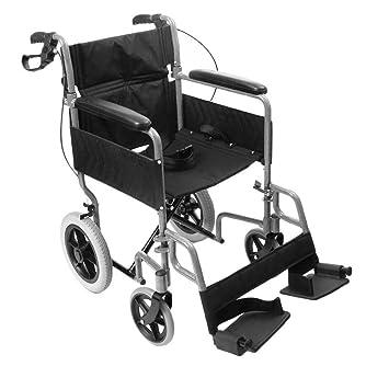 Silla de ruedas de tránsito, de la marca NRS, modelo N29210, ligera, plegable, controlada por auxiliar de vuelo: Amazon.es: Salud y cuidado personal
