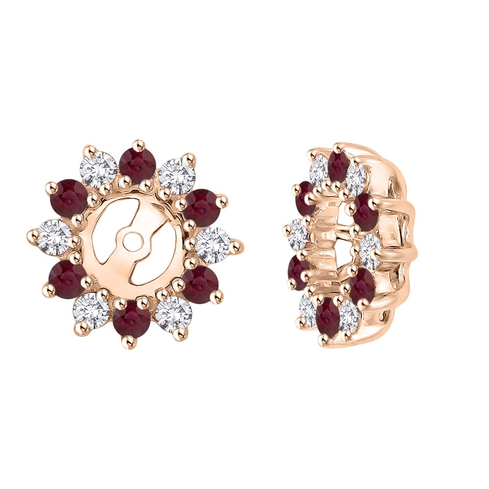 Alternating Diamond with Ruby Earring Jackets in 14K Rose Gold (5/8 cttw) (Color JK, Clarity I2-I3)