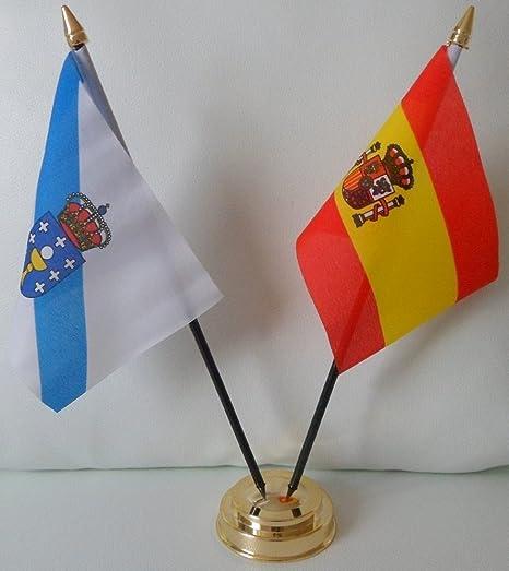 Galicia España - Bandera de la amistad con 2 banderas del Estado Español para mesa, mesa, centro de mesa, bandera con base dorada, ideal para fiestas, conferencias y presentaciones de oficina: Amazon.es: