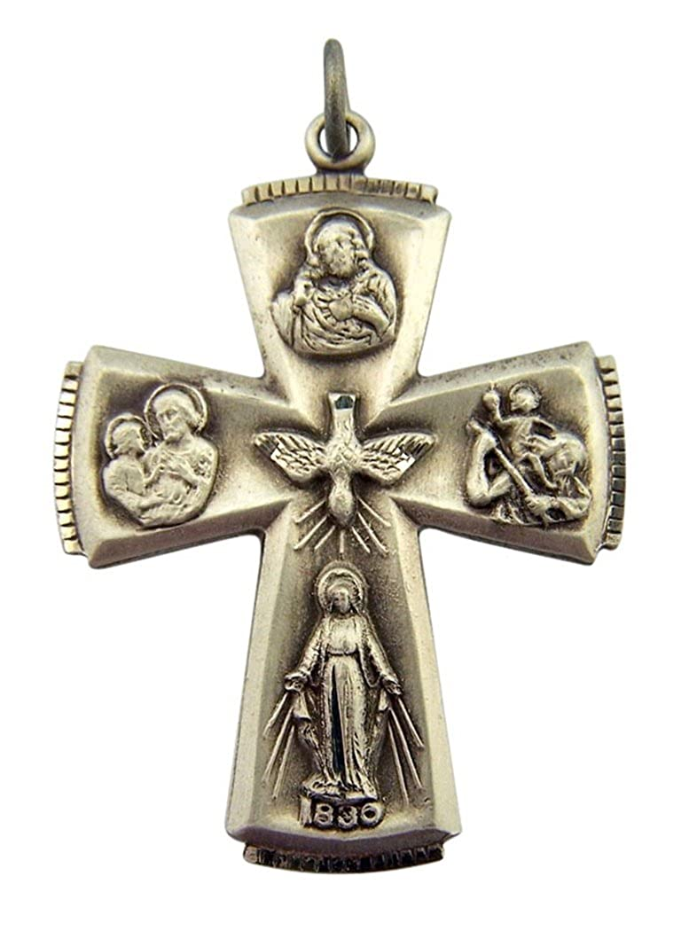 1 1//2 Inch Sterling Silver Four Way Cross Medal with Holy Dove Center