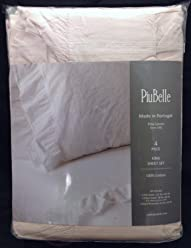 Piu Belle Ruffled Shabby Chic Sheet Set - King Size (Soft Pink Rose Blush)