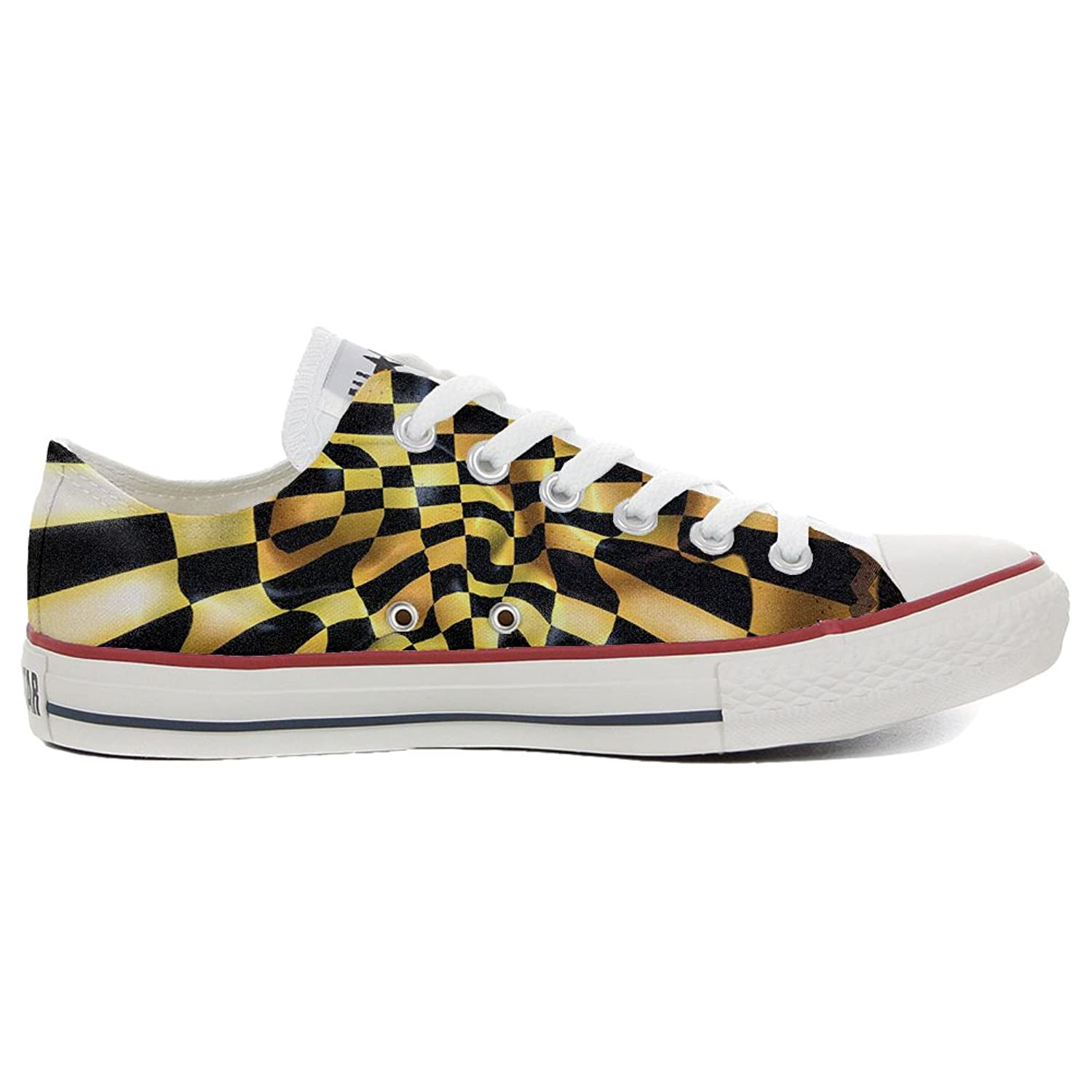 Converse All Star Low Customized personalisierte Schuhe (Handwerk Schuhe) Slim Chess fantasy