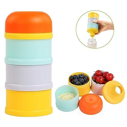 BelleStyle Dispensador de Formula, 3 compartimentos Apilable Dispensador de Leche en Polvo y Almacenamiento BPA Densidad comida para viaje al aire ...