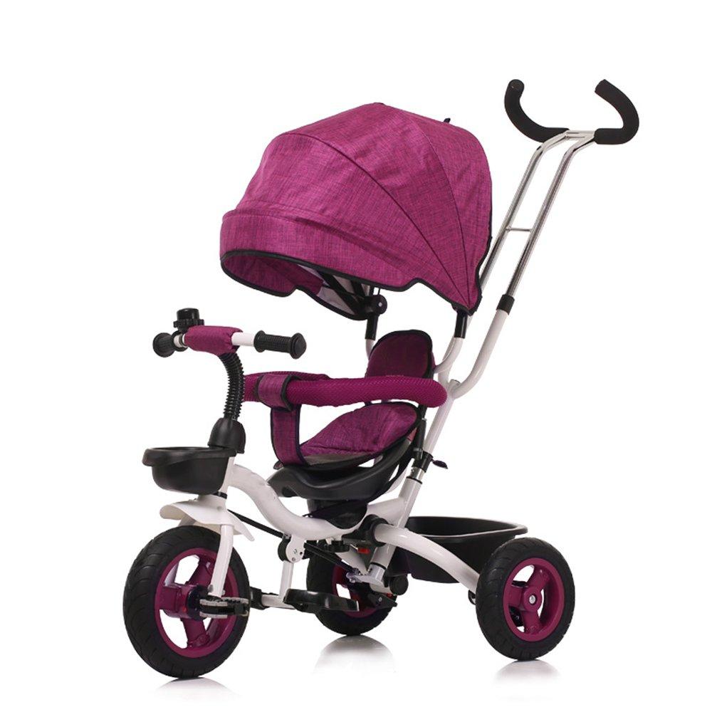 LVZAIXI 付与 4-in-1子供用三輪車 高品質のトロリー自転車キッズは 親ハンドルとアンチUV日除け付きの赤ちゃん用3輪自転車用トライクをプッシュします 色 パープル ぱ゜ぷる B07C775MPX : 販売実績No.1