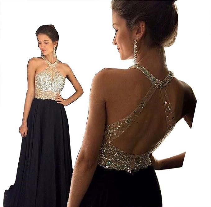 Amazon.com: Fanciest Women\'s Crystal Beaded Prom Dresses 2018 Long ...