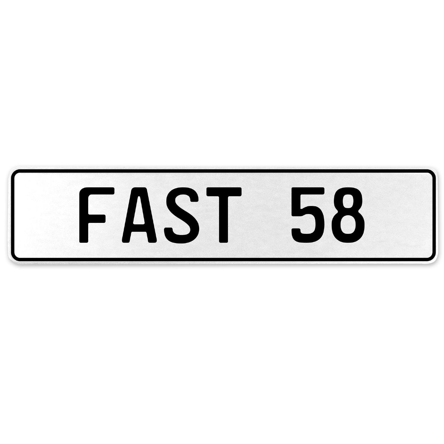 Vintage Parts 557328 Fast 58 White Stamped Aluminum European License Plate