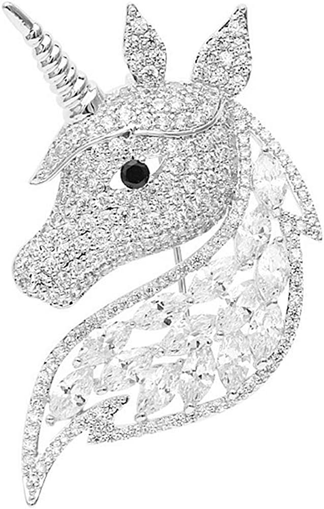 Rhinestone Unicorn Brooch for Women Girls Fashion Dainty Crystal CZ Silvery Cute Animal Horse Brooch Lapel Pin Dress Suit Accessories Jewelry Christmas Winter Birthday Holiday Unisex Gifts