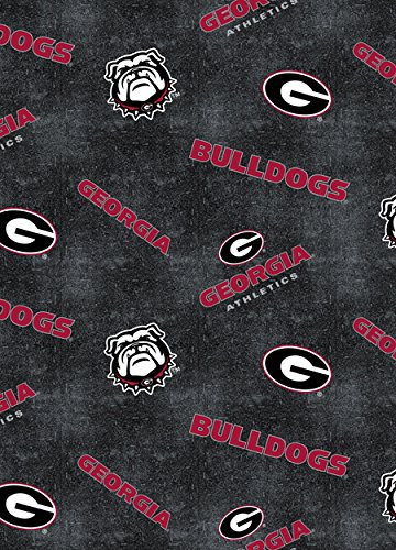 UNIVERSITY OF GEORGIA COTTON QUILTING FABRIC WITH DISTRESSED LOGOS AND PATTERN