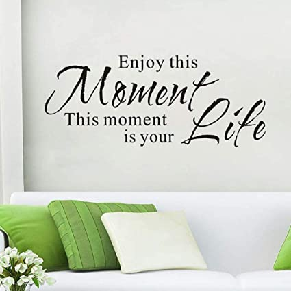 Wovtcp Enjoy This Moment Wall Quote Inspirational House Quotes Sticker Life Quote Living Room Removable Wall Decal Dining Room Vinyl Mural Home Decor Kitchen Dining
