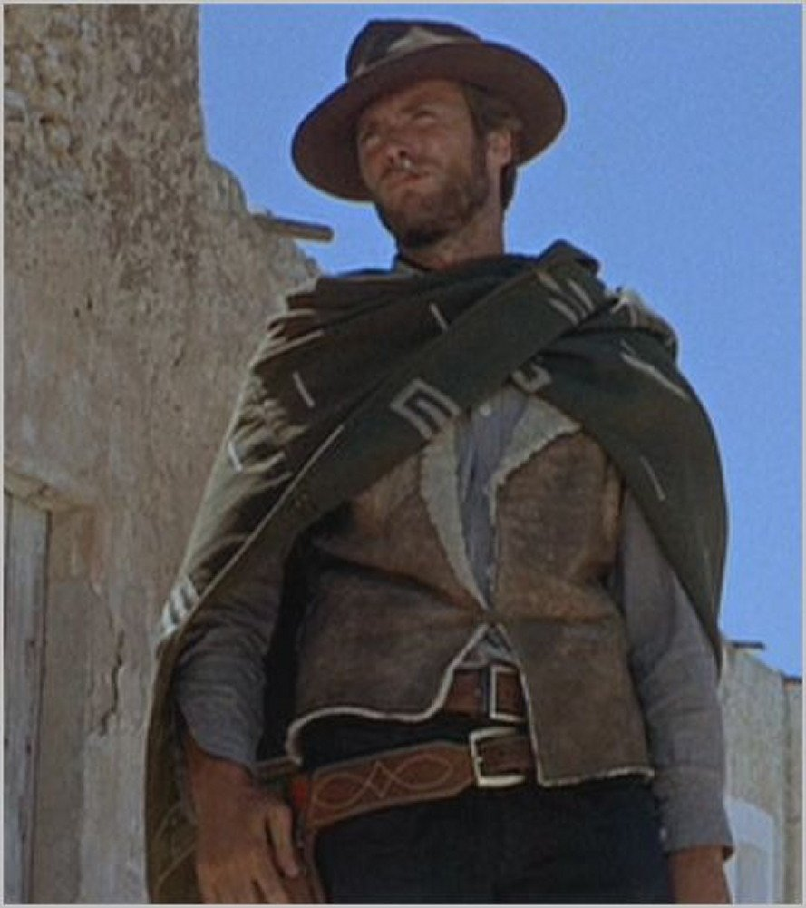 Clint Eastwood Spaghetti Western Original Pattern 100% Wool Poncho w Leather Hat by Sharpshooter (Image #9)