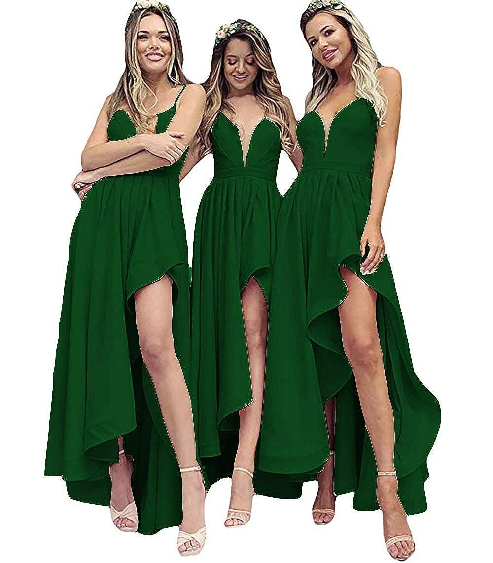 Dark Green IVYPRECIOUS V Neck A Line High Low Bridesmaid Dresses Tea Length Wedding Party Dresses