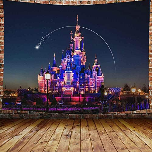 DBLLF Beautiful Cartoon Castle Tapestry Architecture Building City Castle Amusement Park Castle World Hanging Tapestries for Boy Girl Kids Bedroom Living Room Dorm 80X60 Inches DBLS605