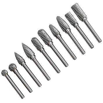 UK 10pcs Tungsten Steel Carbide Burr Grinding Head Grinder Rotary Drill Wood Set