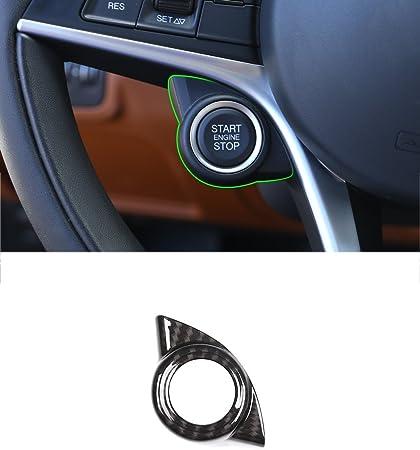 For Alfa Romeo Giulia 2017 2018 Carbon Fiber Engine Start Stop Button Cover Trim