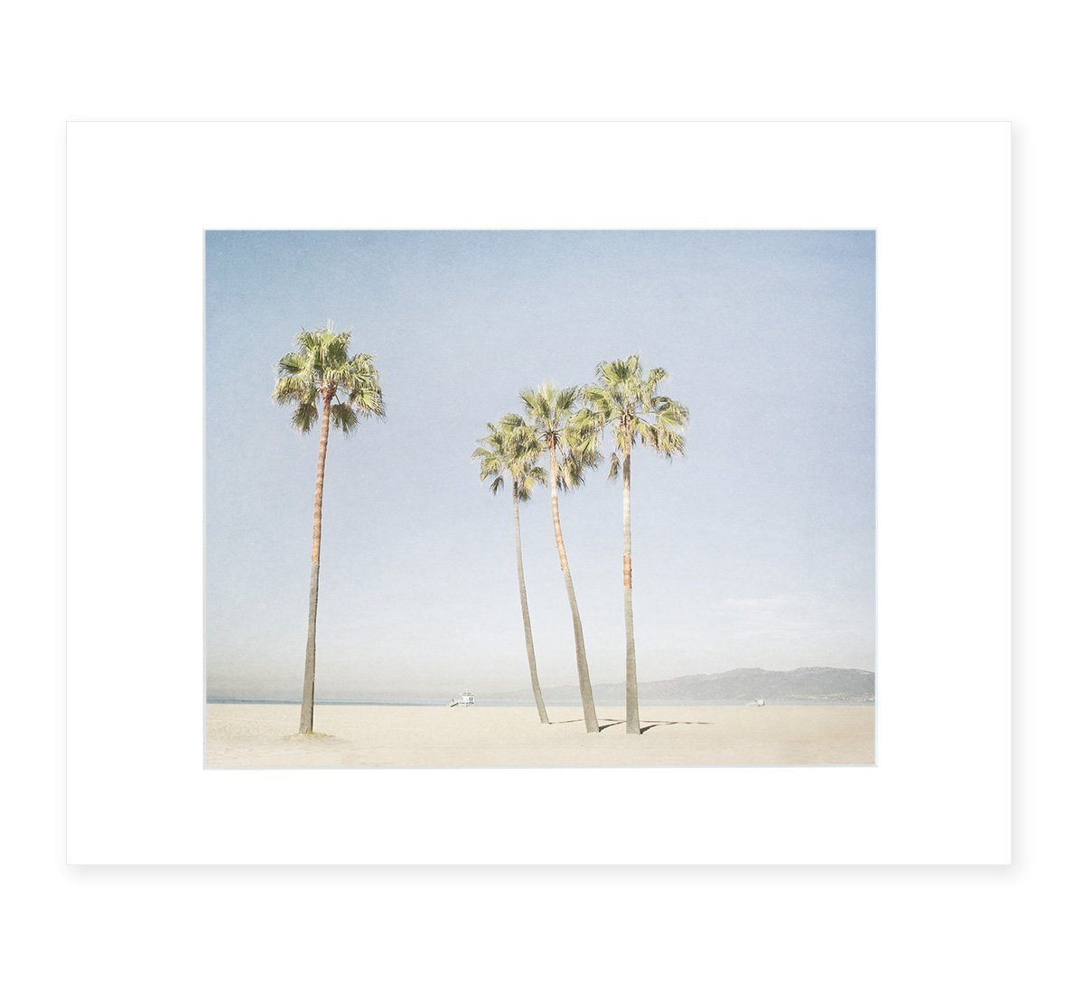 California Wall Art, Venice Beach Palm Tree Art, Santa Monica Coastal Wall Decor, Tropical Beach Picture, 8x10 Matted Photographic Print (fits 11x14 frame), 'Boardwalk Palms'