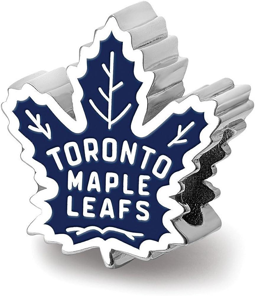 Amazon Com Logoart Sterling Silver Toronto Maple Leafs Toronto Maple Leafs On Maple Leaf Enameled Extruded Bead Jewelry