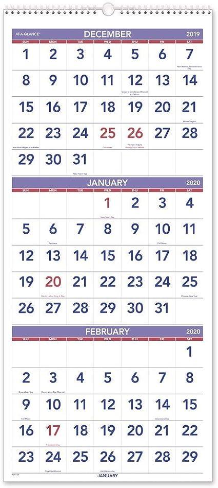 AT-A-GLANCE 2020 Calendario de pared, visualización de 3 meses, 12