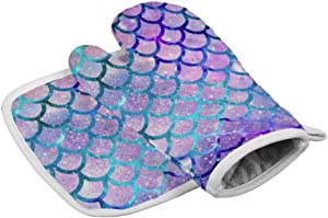 Galaxy Colorful Mermaid Scales Pattern - Kitchen Oven Mitts, Microwave Oven Glove, Extreme Heat Resistant Gloves for Food, Grilling, Frying, Insulated Durable Mitts, for Women Men Teens Boys Girls
