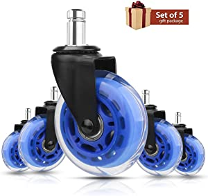 8T8 Office Chair Caster Wheels 3-inch Replacement Heavy Duty Soft PU Rubber Safe for Hardwood Carpet Floors 5 Set (Blue Transparent)