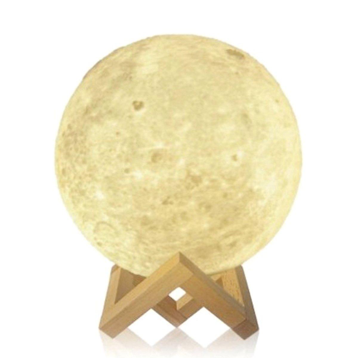 Tooarts 3D Printing Light Charging Luna Moon Lamp Modern Sculpture Bedroom Night Light Decoration Gift 14cm