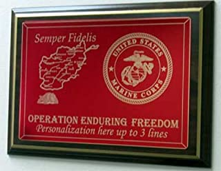 "product image for All American Gifts Operation Enduring Freedom personalized laser engraved Plaque - 8""x10"" - w/map of Afghanistan & Military service logo - INCLUDES 3 lines of personalized text (Navy emblem)"