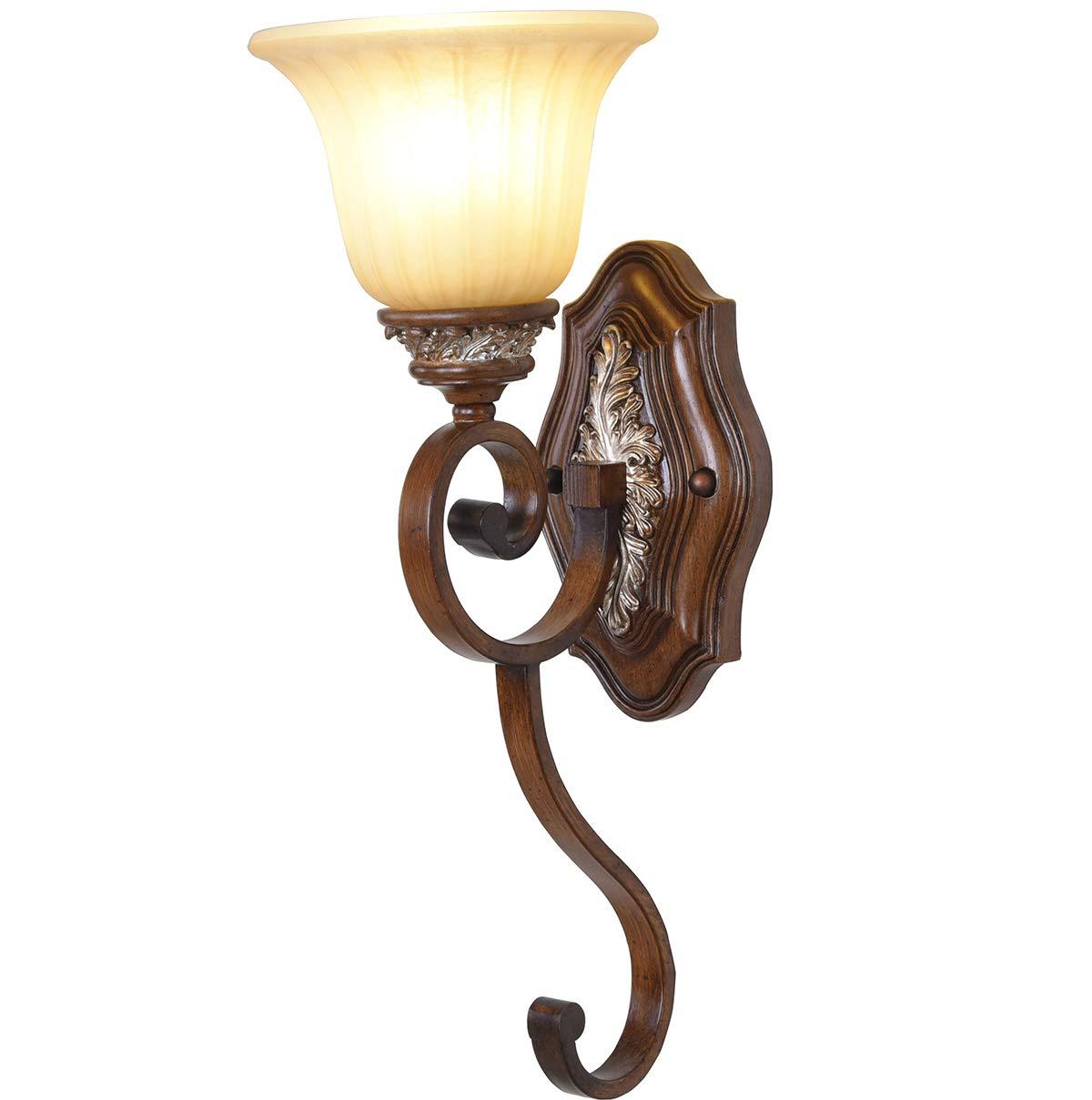 Vintage-Wandlampe, Schmiede Leichtes Körper-Hilfsmaterial  Harz-Wand-Licht-Spiegel-Scheinwerfer Zimmer Nachtlampe Glasschatten Wohnzimmer Innenwand Spotlight110v-220V E27x1 (Ohne Glühbirne),110V