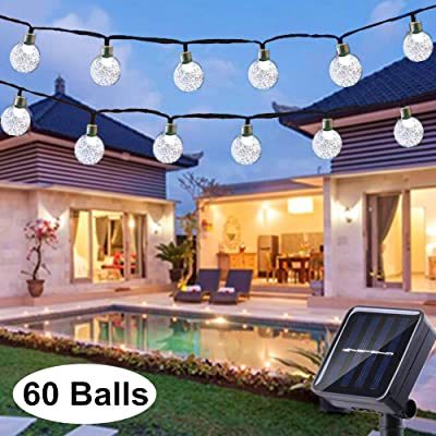Solar String Lights Globe 33 Feet 60 Crystal Balls Waterproof LED Fairy Lights 8 Modes Outdoor Starry Lights Solar Powered String Lights for Garden Yard Home Party Wedding Decoration (Cool White) : Garden & Outdoor
