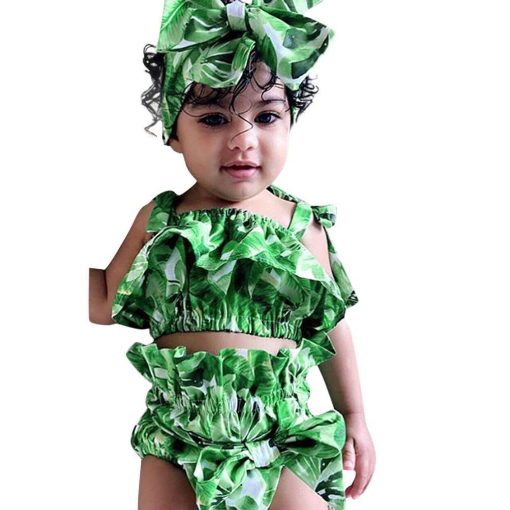無料配達 fimkaul幼児女児ノースリーブリーフプリントトップパンツwithヘッドバンド服装セットClothes 3個入り 100 100 グリーン 3個入り グリーン B07FSHLCKJ, 完璧:ec46ecb3 --- a0267596.xsph.ru