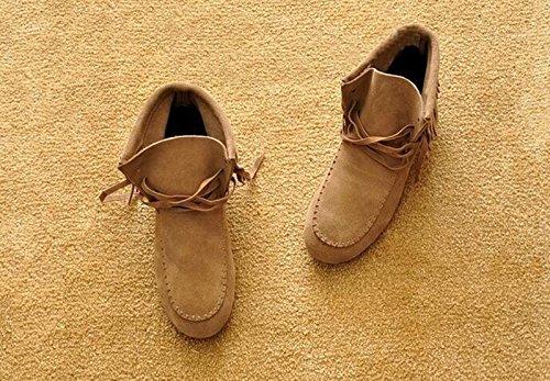 Wealsex Mujer Otoño E Invierno Calentar Botas De Flecos Moda Zapatos Cargadores Cómodo Botas Mujer Beige y algodón
