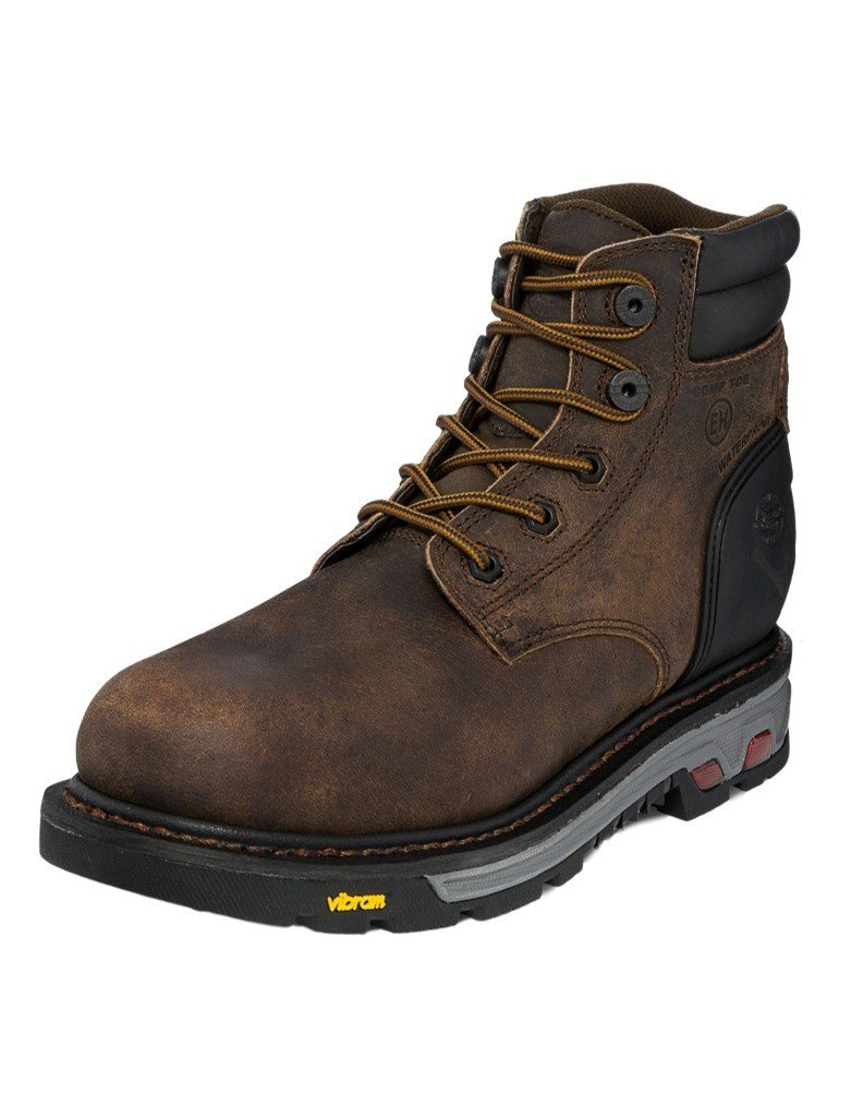 Justin Men's Commander Lace-Up Work Boot Composite Round Toe Brown 8.5 D