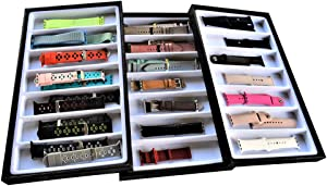 Xchangeables 3-Layer Stackable Smart Watch Storage Jewelry Case Organizer for Apples Watch Bands & Accessories (Black/White)