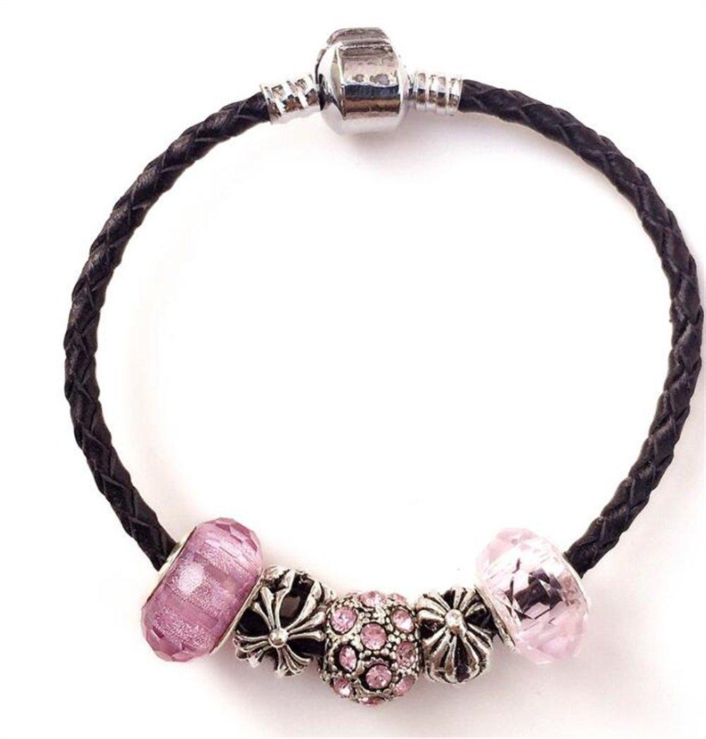 PvxgIo Eine Gute Wahl DIY Handgefertigte Leder Glasperlen Armband (Schwarz)