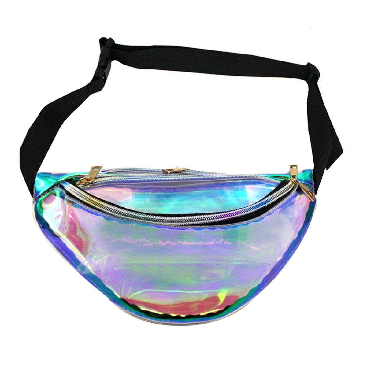Mily Silver Hologram Fanny Pack Laser Fanny Pack Perfect for Raves and Festivals (Iridescent2 small size)