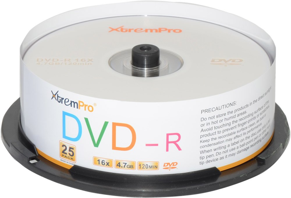 XtremPro DVD-R 16X 4.7GB 120Min DVD 25 Pack Blank Discs in Spindle - 11031