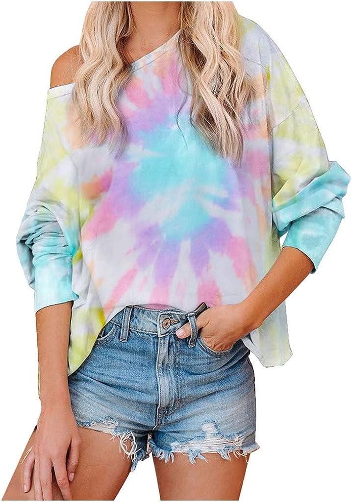 Liuxuelifg3 Womens Long Sleeve Tops,Womens Long Sleeve Tie Dye Printed Sweatshirt Loose Contrast Color Pullover