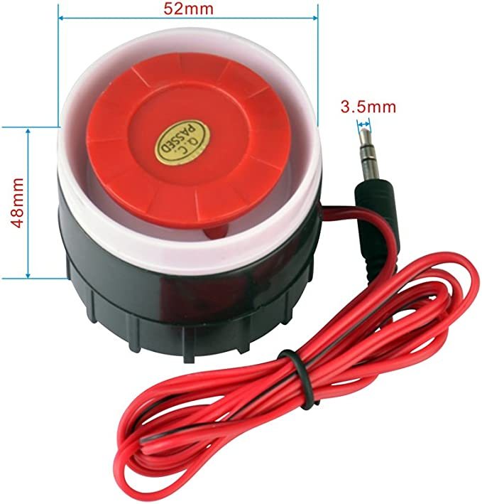 Mini Piezo Alarm Siren Replacement for Indoor Anti Theft Security 12VDC White