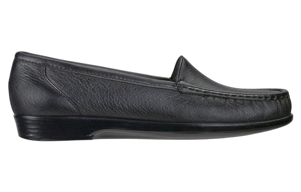 SAS Simple Women's Slip On Leather Loafer B00CMWEP1Y 5 W - Wide (C) US|Black