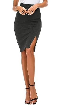 hot sale online 63802 2656d Damen Bleistiftrock figurbetont Business Rock Seitenschlitz Saum