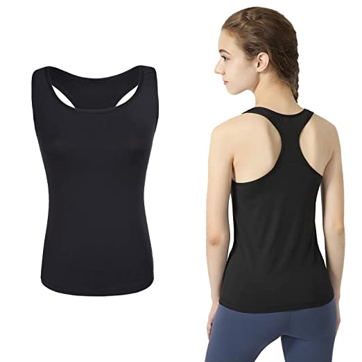 b33587678d792 Deeoutlife Women s Workout Yoga Racerback Tank Tops Activewear Running  Athletic Shirts Sleeveless (Black