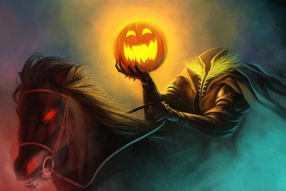 Gifts Delight Laminated 26x17 Poster: Halloween Art - Sleepy Hollow and The Headless Horseman Turn The