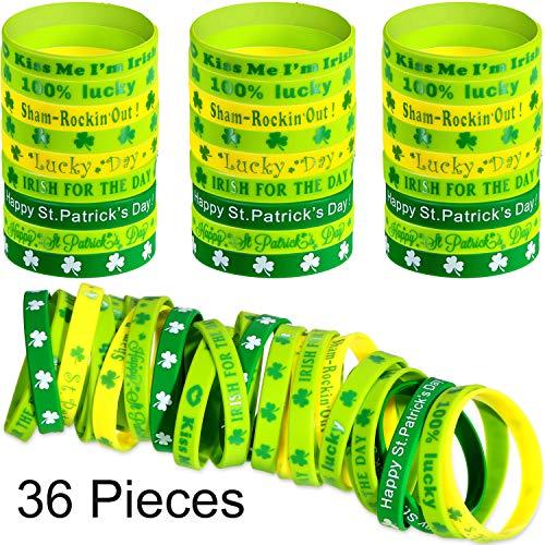 Chengu 36 Pieces Shamrock Wristbands Green Rubber Bracelets Silicone Irish Wristbands for St. Patrick's Day Irish Theme Party Favors -