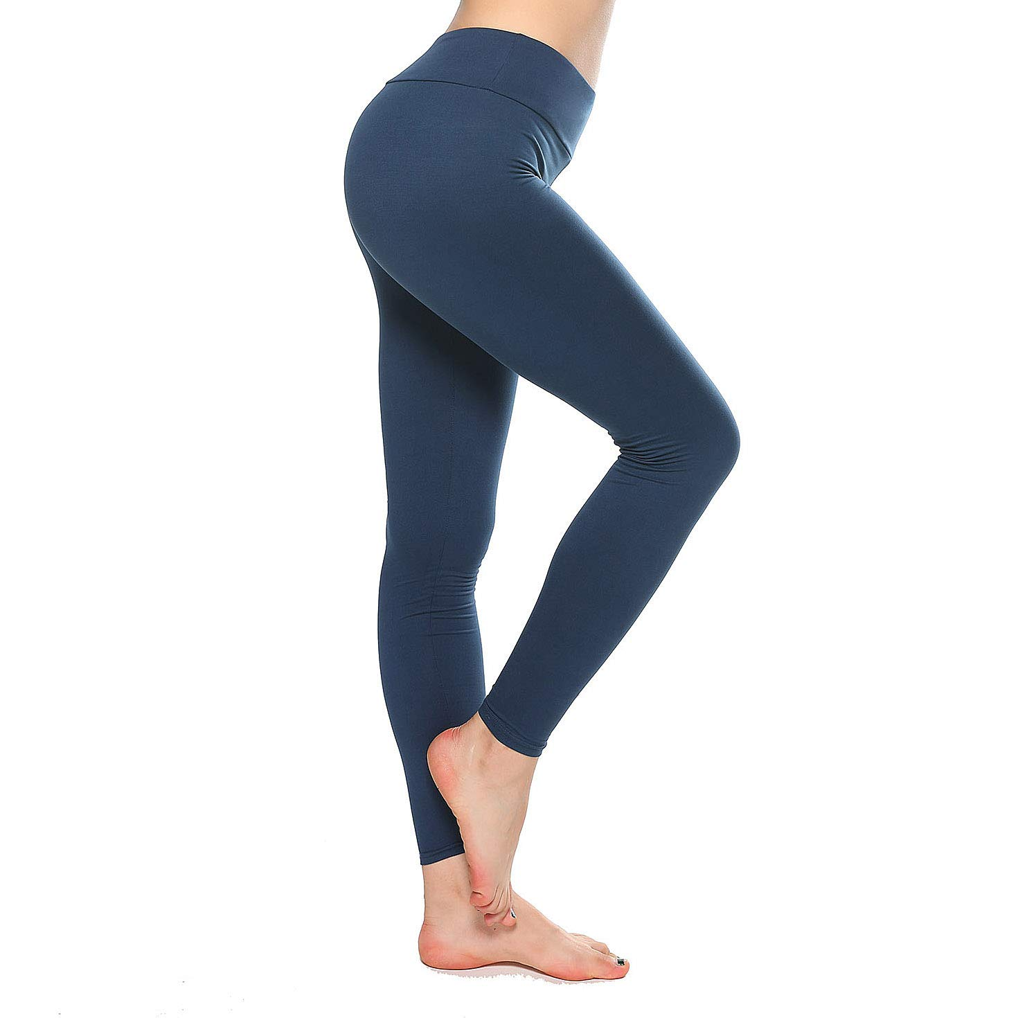 K&T Super Soft Buttery Leggings - High Waisted Slimming Leggings - Womens Tummy Control Pants (One Size, Navy)